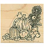 Inky Antics - Wood Stamp - Fall and Harvest Flowers