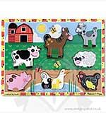 Melissa and Doug - Chunky Wooden Puzzle - Farm Animals (7pcs)
