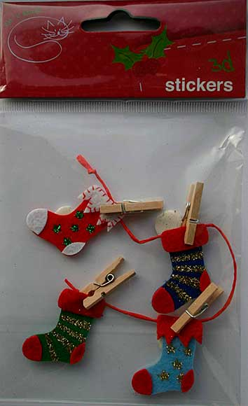 Felt Stockings with Mini Wooden Pegs (4pk)
