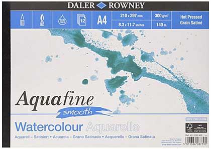 Aquafine A4 Watercolour Pad, Smooth (12 sheets)