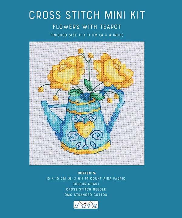 Cross Stitch Mini Kit - Flowers with Teapot