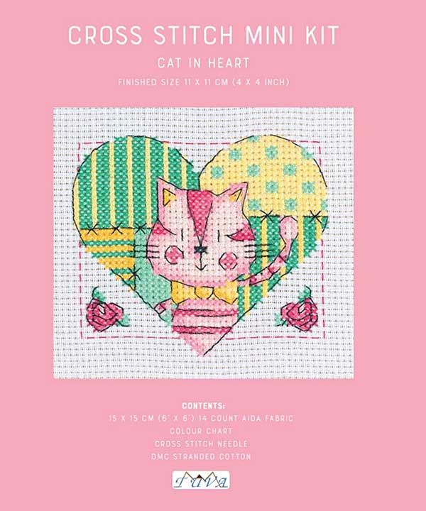 Cross Stitch Mini Kit - Cat in a heart