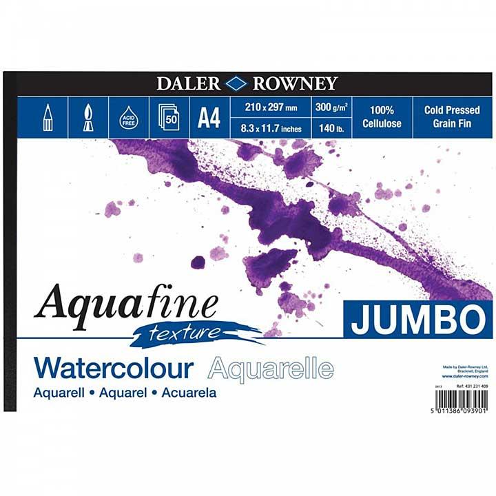 SO: Daler Rowney - Jumbo Aquafine Textured Watercolour Sketchbook A4 Landscape (300gsm, 50 Pages)