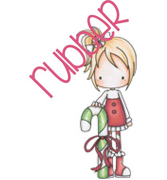 CC Designs Rubber Stamp - Peppermint Candy Cane