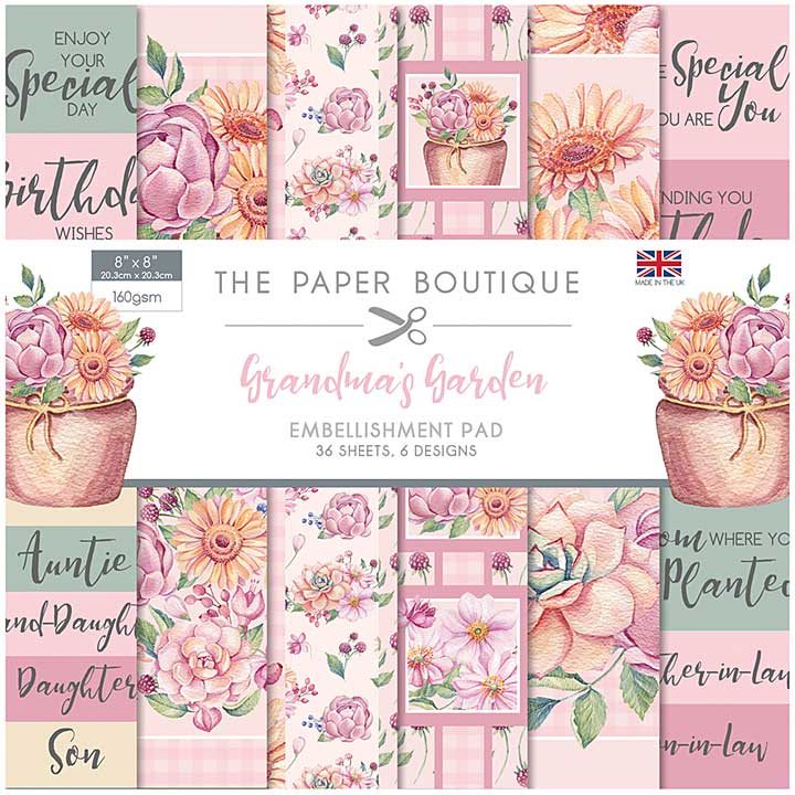 The Paper Boutique Grandma\'s Garden 8x8 Embellishments Pad