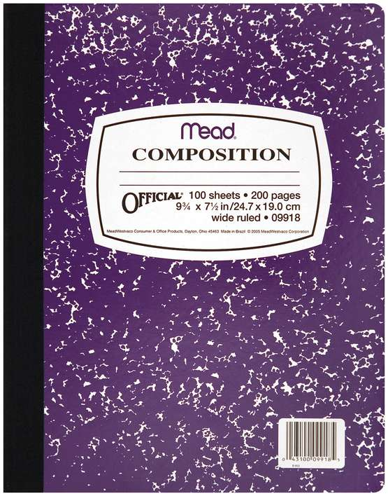 Mead Composition Wide Ruled Notebook - 100 Sheets (9.75 x 7.5)