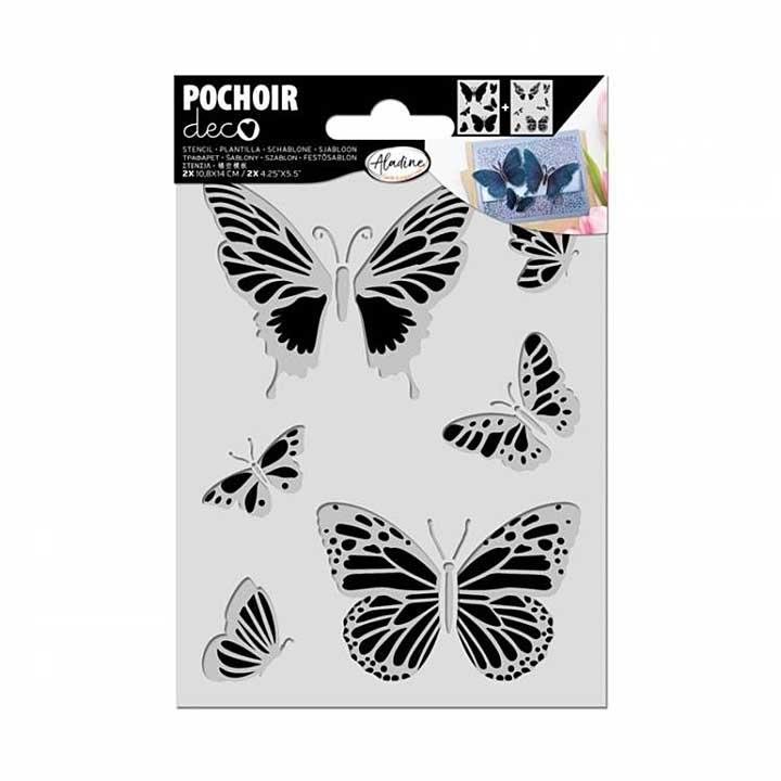 IZINK Deco Duo Layering Stencil - Butterflies