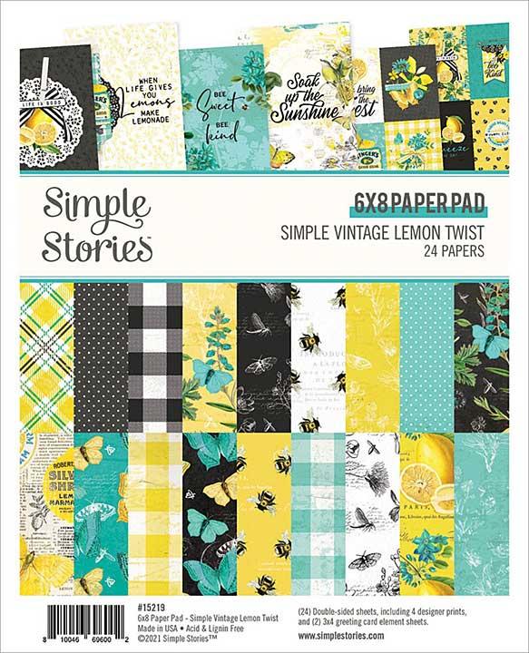 Simple Stories Double-Sided Paper Pad 6x8 24pk - Simple Vintage Lemon Twist