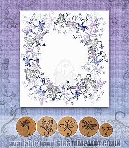Rubber Stamp Tapestry - Dragonflies at Dusk Set