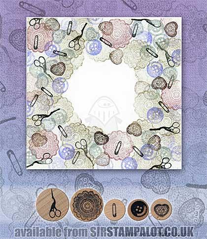 Rubber Stamp Tapestry - Vintage Sewing Basket Set