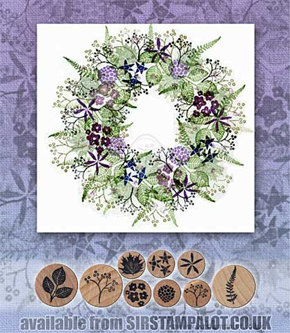 Rubber Stamp Tapestry - Floral Wreath Set
