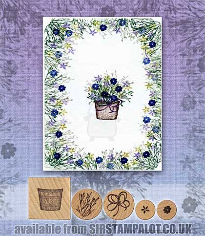 Rubber Stamp Tapestry - Basket of Flowers Set