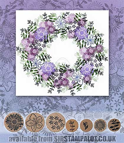 SO: Rubber Stamp Tapestry - Floral Filigree Wreath Set