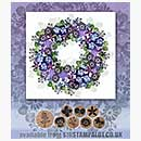 Rubber Stamp Tapestry - Pansy and Daisy Wreath Set