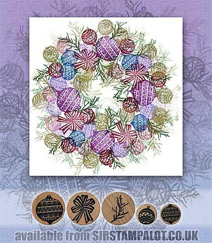 SO: Rubber Stamp Tapestry - Embellished Holiday Wreath Set