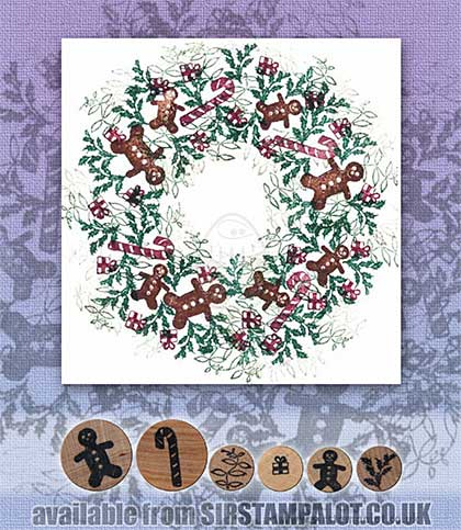 SO: Rubber Stamp Tapestry - Gingerbread Wreath Set