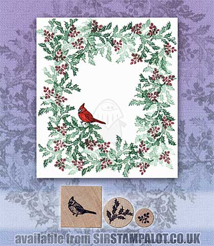 SO: Rubber Stamp Tapestry - Cardinal Resting in Holly Set