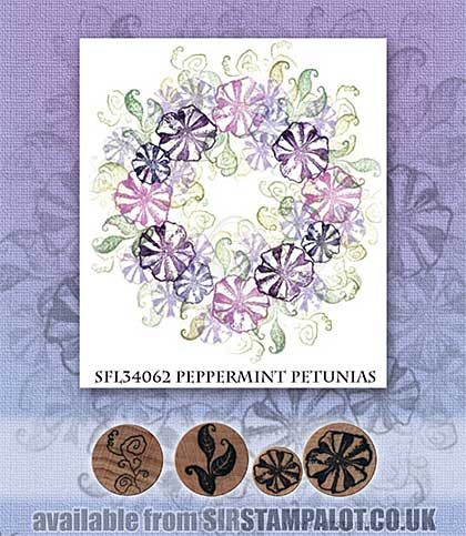 SO: Rubber Stamp Tapestry - Peppermint Petunias