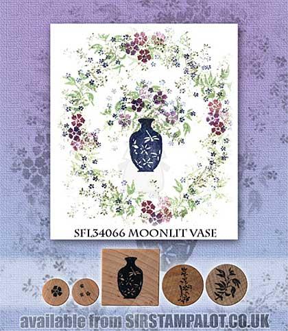 SO: Rubber Stamp Tapestry - Moonlit Vase