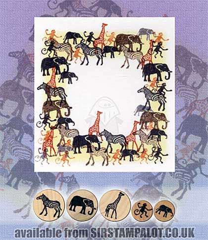 SO: Rubber Stamp Tapestry - African Zoo Animals