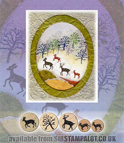 Rubber Stamp Tapestry - Deer Forest