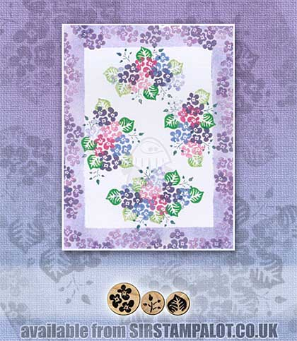 Rubber Stamp Tapestry - Hydrangea Blooms