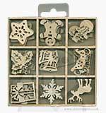 Wooden Embellishment Shapes - Christmas (45pcs)