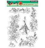 Penny Black Clear Stamps - Pine and Poinsettia