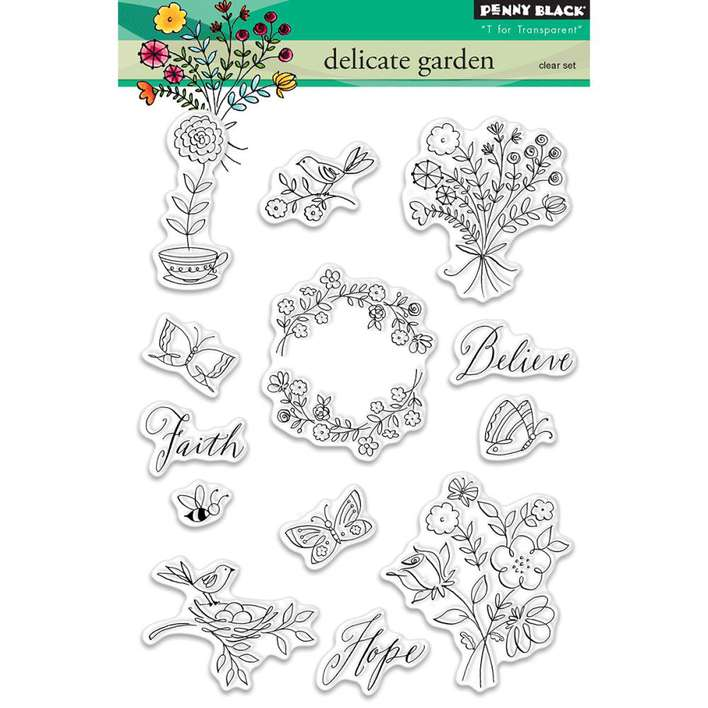 Penny Black Clear Stamps - Delicate Garden