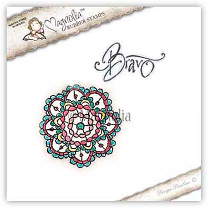 Magnolia EZ Mount Stamp BH15 - Bohemian Doily Lace and Bravo Text (2 stamps)