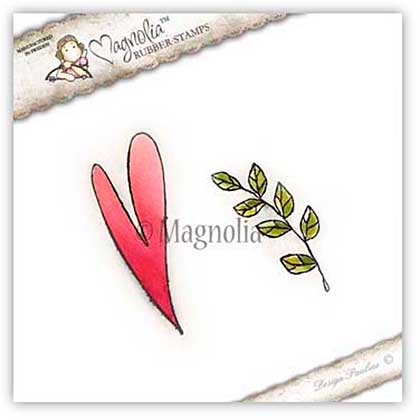 Magnolia EZ Mount Stamp BH15 - Boho Heart and Leaf (2 stamps)