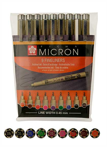 SO: Sakura Pigma Micro Fineliners Pen Selection - Multi-Colour, 0.45mm nib (9 pens)