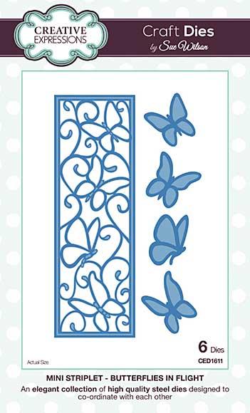 SO: Sue Wilson Festive Collection Mini Striplet - Butterflies In Flight