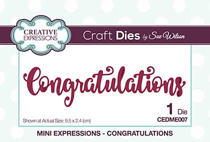 Sue Wilson Cutting Dies - Mini Expressions - Congratulations [SW1801]