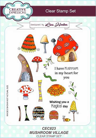SO: Lisa Horton Clear Stamp Set A5 - Mushroom Village