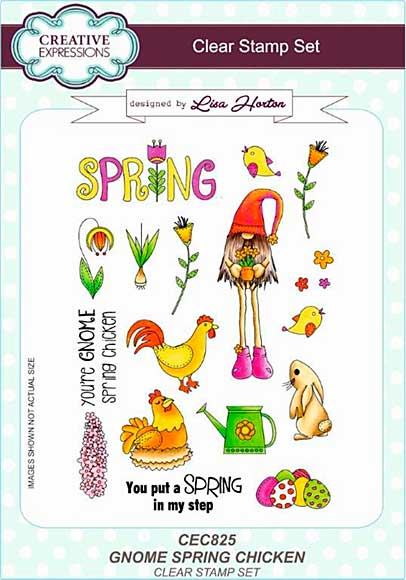 Lisa Horton Clear Stamp Set A5 - Gnome Spring Chicken