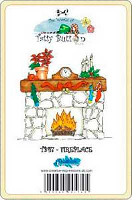 Tatty Button Mounted Stamp - Fireplace
