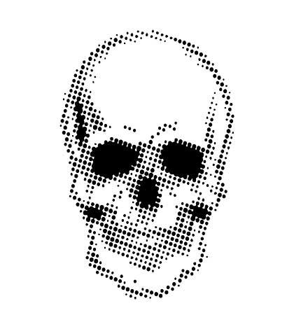 SO: CE 7 x 7 Stencil by Andy Skinner Half Tone Skull