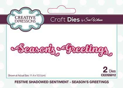 Festive Shadowed Sentiment Season\'s Greetings Craft Die