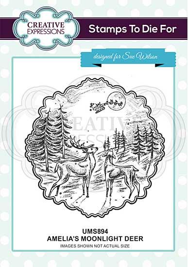 Amelia\'s Moonlight Deer Pre Cut Stamp