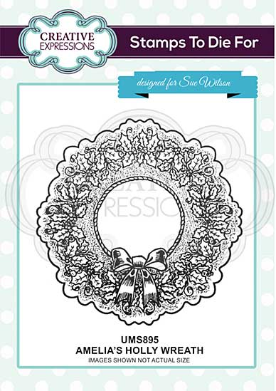 Amelia\'s Holly Wreath Pre Cut Stamp