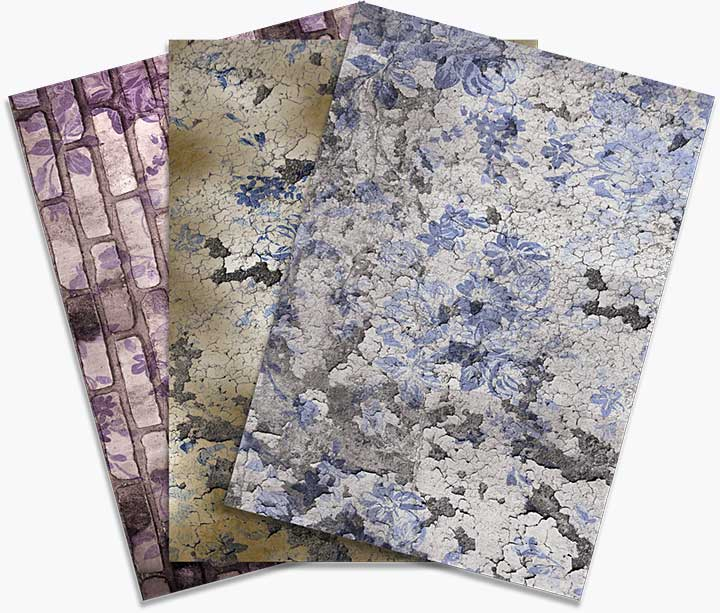 CE Rice Paper by Andy Skinner Floral Grunge (6 Sheets)