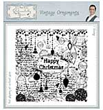 Vintage Ornaments Pre Cut Rubber Stamp