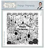 Vintage Ornaments Pre Cut Rubber Stamp