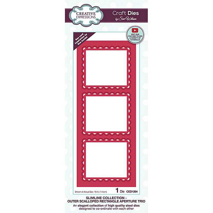 Creative Expressions Sue Wilson Slimline Outer Scalloped Rectangle Aperture Trio Craft Die