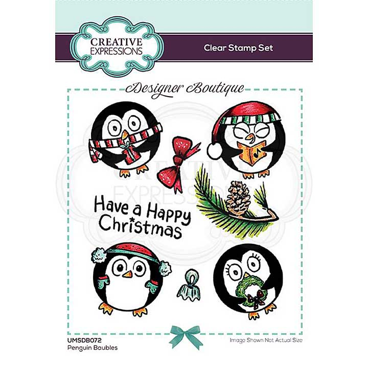 Creative Expressions Designer Boutique Collection Penguin Baubles A6 Clear Stamp Set