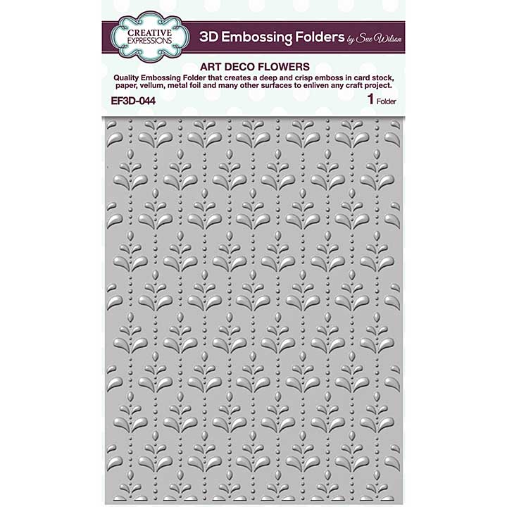 Creative Expressions Art Deco Flowers 3D Embossing Folder (5.75in x 7.5in)