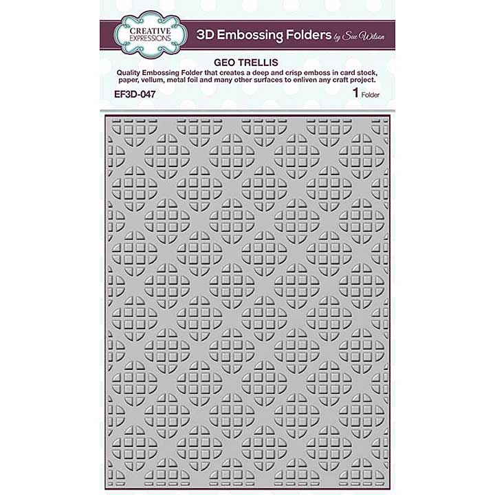 Creative Expressions Geo Trellis 3D Embossing Folder (5.75in x 7.5in)