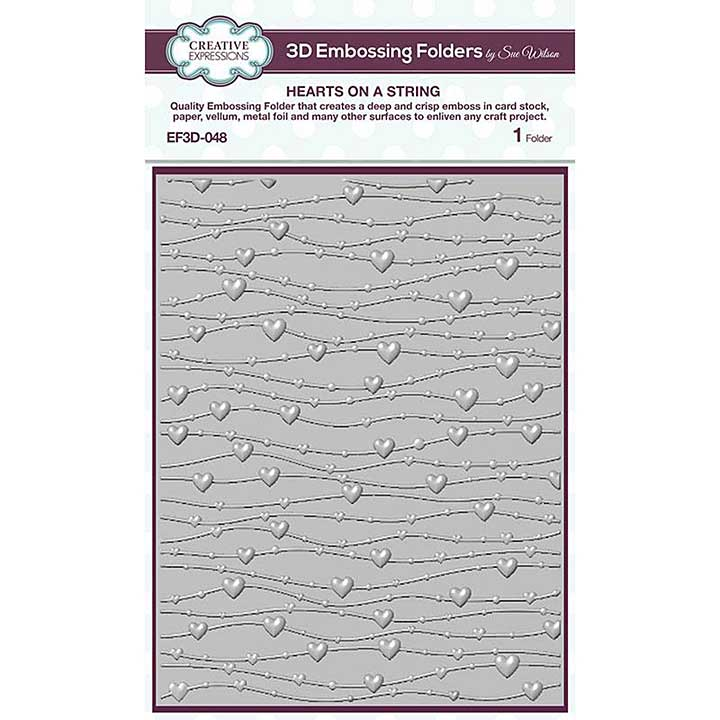 Creative Expressions Hearts On A String 3D Embossing Folder (5.75in x 7.5in)