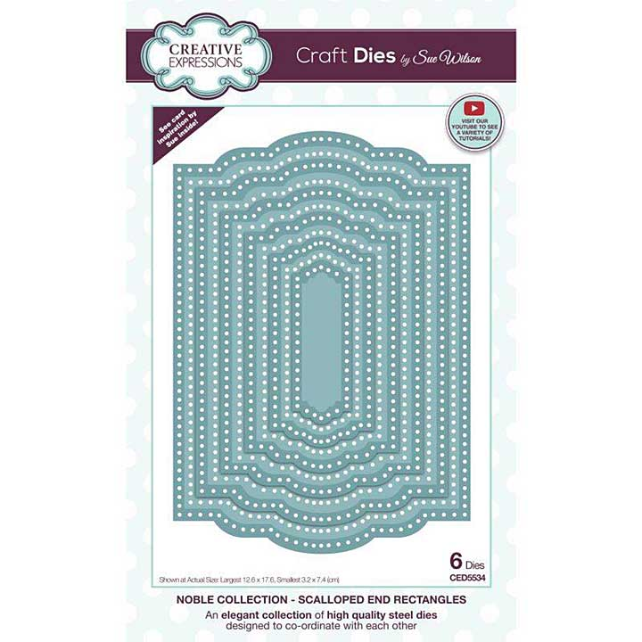 Creative Expressions Sue Wilson Noble Scalloped End Rectangles Craft Die